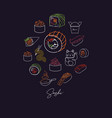 sushi types poster color dark vector image vector image