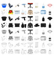 tattoo studio set icons in cartoon style big vector image