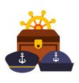 treasure chest ship helm hats uniform marine vector image vector image