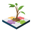 Tree Jigsaw Business Color Growth vector image vector image