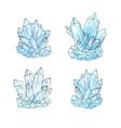 watercolor set group of quartz crystals in sketch vector image