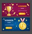 winner banner horizontal set vector image vector image