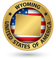 Wyoming state gold label with state map vector image