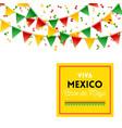 yellow viva mexico cinco de mayo sign and flags vector image