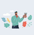 young bearded man make selfie vector image vector image