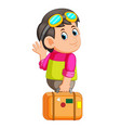 young man holding travel bag and waving hello vector image vector image