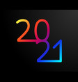 2021 happy new year banner with colorful numbers vector image vector image