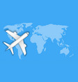airplane over blue world map travel concept vector image vector image