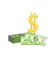 american dollar bills and golden dollar sign vector image vector image