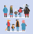 animals wearing warm clothes collection raven vector image