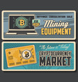 bitcoin cryptocurrency and mining technology vector image vector image