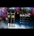 black cream bottles on black magic background vector image vector image