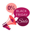 black friday sale banner with loudspeaker or vector image vector image