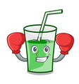 boxing green smoothie character cartoon vector image vector image