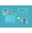 Business concept of cowork designer and programmer vector image vector image