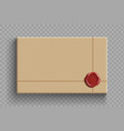 cardboard box with a wax seal vector image vector image