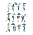 cartoon people with umbrella in rainy day man and vector image vector image