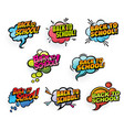 comics speech bubbles back to school vector image