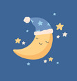 cute yellow half moon sleeping in hat with pompom vector image