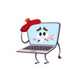 flat funny laptop sick character vector image vector image