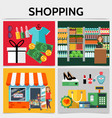 flat shopping square concept vector image vector image