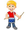 funny Boy cartoon playing drum vector image vector image