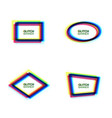 glitch frame set oval rectangle rhombus polygon vector image vector image
