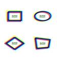 glitch frame set oval rectangle rhombus polygon vector image