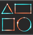 glowing frames neon turquoise lava light shiny vector image vector image