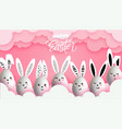 happy easter funny cute bunnies with easter eggs vector image vector image