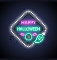 happy halloween neon sign with ghost vector image