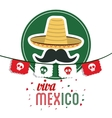 hat and mustache icon Mexico culture vector image vector image