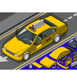 Isometric Yellow Taxi in Front View vector image