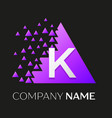 letter k logo symbol on colorful triangle vector image