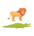 lion and crocodile savanna animals in cartoon vector image vector image