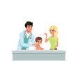 male pediatrician doing medical exam of little boy vector image vector image