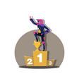 motorcross racing winner on three level podium wit vector image