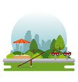 park with kid zone scene vector image