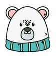 polar bear with scarf merry christmas card vector image vector image