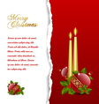 ripped christmas card with balls vector image vector image