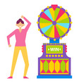 roulette fortune wheel gambling woman character vector image vector image