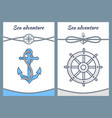 sea adventure color posters vector image vector image
