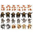 set of dancing animals vector image vector image