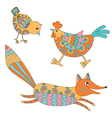 Set of hand drawn animals - fox hend and chicken vector image vector image