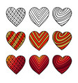set of hand drawn hearts colorful valentine vector image