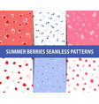 set of summer berries seamless patterns vector image vector image