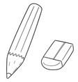 set pencil and eraser vector image vector image