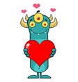 smiling blue monster holding a love heart vector image