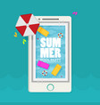 summer pool mobile phone flat design style vector image vector image
