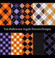 ten halloween seamless pattern design collection vector image vector image